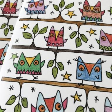 color owl card